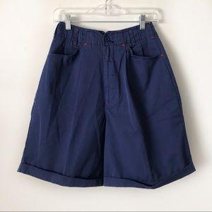 Vtg High Waisted Pleated Mom Shorts Navy Blue 6/8